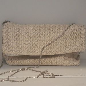 Deux Lux cream and silver woven clutch